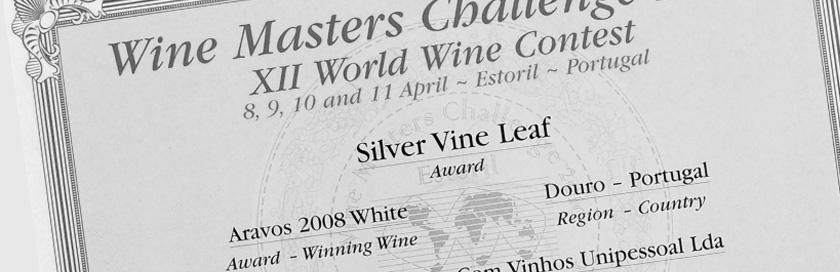 Diploma do concurso internacional Wine Masters Challenge 2010