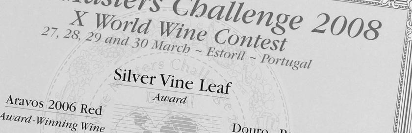 Diploma do concurso internacional Wine Masters Challenge 2008