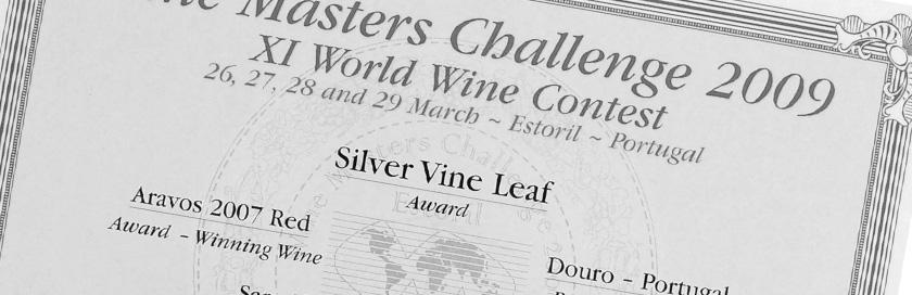 Diploma do concurso internacional Wine Masters Challenge 2009